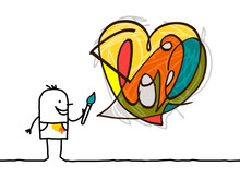 Cartoon Artist Painting A Modern Style Heart