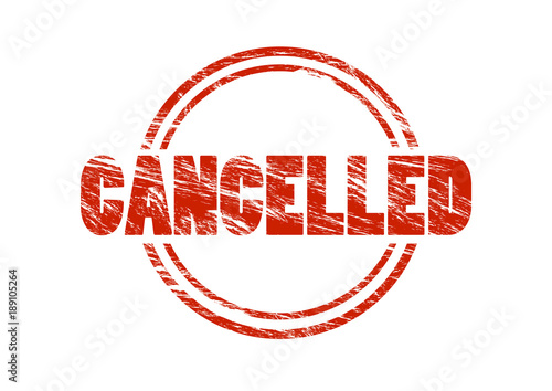 Fotografía  cancelled vintage red rubber stamp isolated on white background