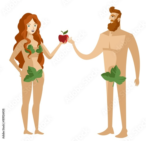 Photo adam and eve with sin apple