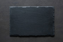 Black Slate Background Table Top View. Cooking Food, Restaurant Menu, Chalkboard Menu Background With Copy Space For Text.