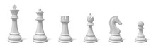 3d Rendering Of All Six Different Chess Pieces Of Black Color Standing In Line.