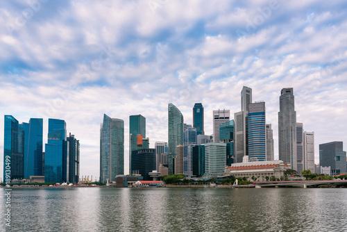 Spoed Foto op Canvas Abu Dhabi Singapore business downtown at daylight, sunrise scene