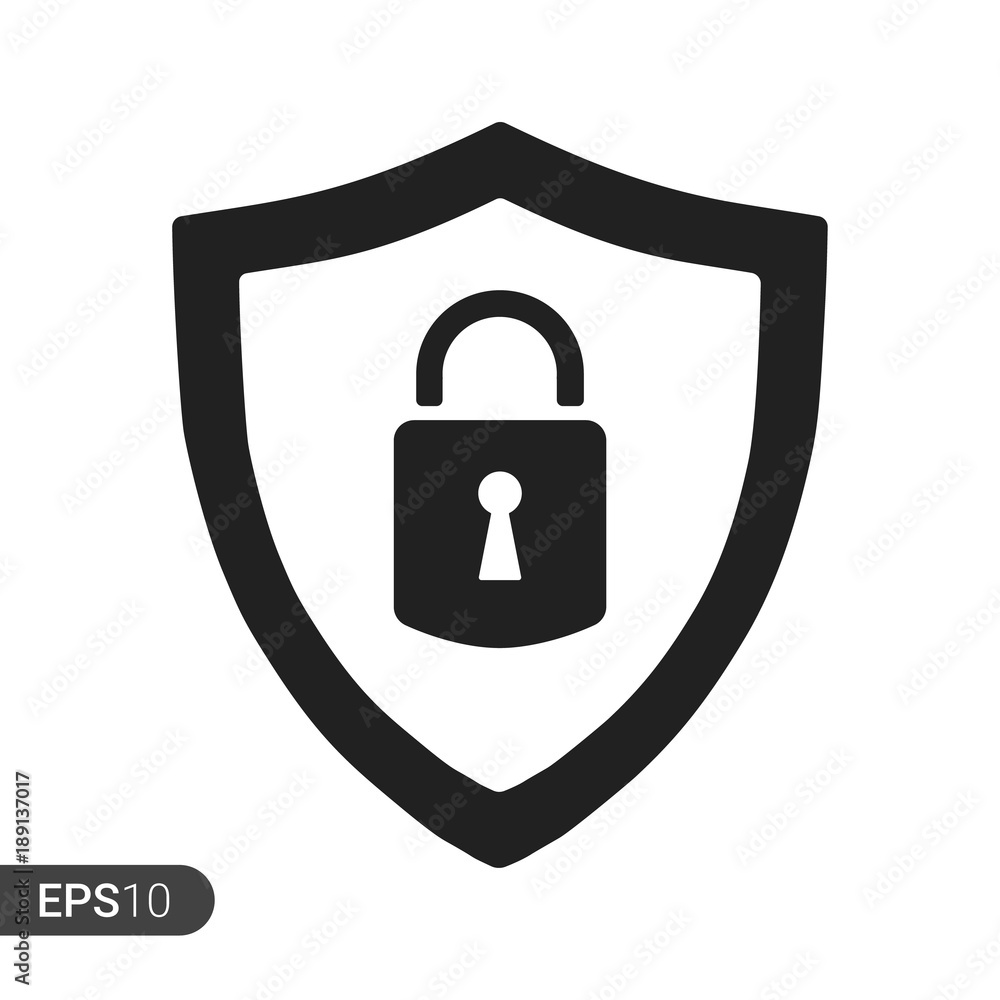 Fototapety, obrazy: Abstract security vector icon illustration isolated on white background. Shield security icon. Lock security icon.