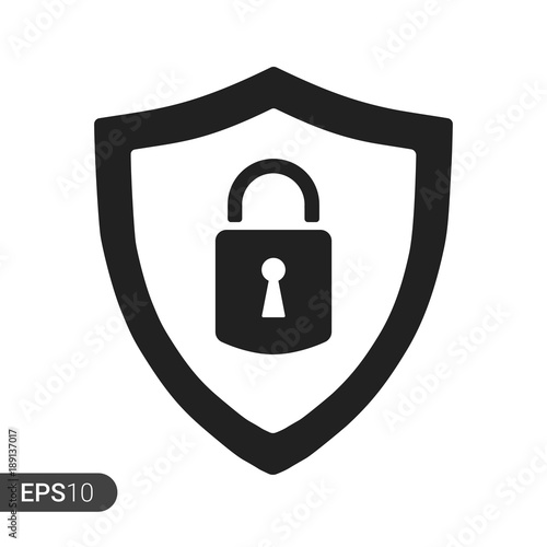 Abstract security vector icon illustration isolated on white background. Shield security icon. Lock security icon. Wall mural