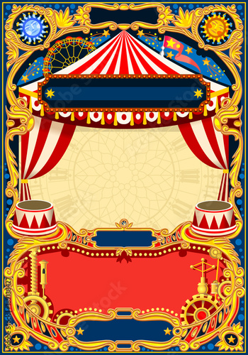 Circus editable frame. Vintage template with circus tent for kids ...