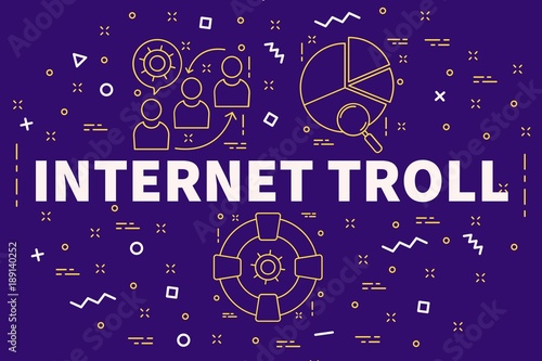 Photo Conceptual business illustration with the words internet troll