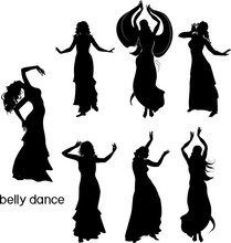 Set Of Silhouettes Of Dancers ...