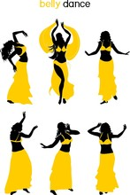 Set Of Silhouettes Of Belly Da...