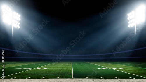 Fotografie, Tablou  Football field with stadium lights