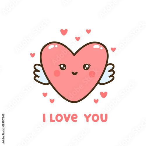 "Photo  Cute heart with quote ""I  love you"""