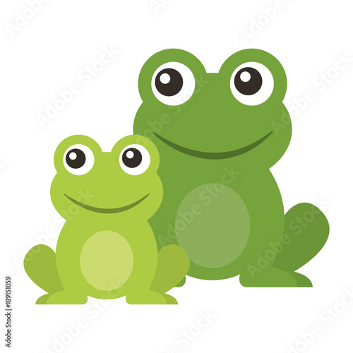 Valokuvatapetti frog cute animal sitting cartoon vector illustration