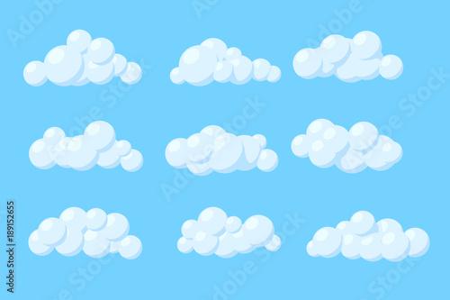 Foto op Plexiglas Hemel Set of cartoon vector clouds. Isolated Illustration on blue background.