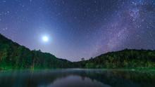Star Night At Pang-Ung Lake, Mae Hong Son Province, Thailand