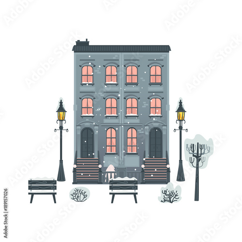 In de dag Zuid-Amerika land Vector flat residental building, streetlight, street benches and bushes icon. Vintage architecture, construction. Dormitory area symbol urban landscape background design Isolated illustration