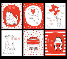 Set Of Hand Drawn Valentines D...