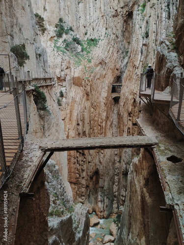 Photo  Wide angle view of 'El Caminito del Rey' King's Little Path footpath, one of the most Dangerous in the world, reopened in 2015