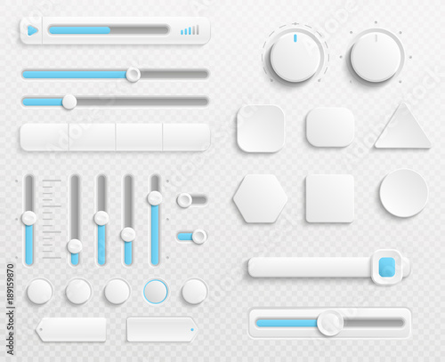 Fotografía  White web buttons and ui sliders vector set isolated on transparent background