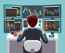 Stock Market Trader Looking At...