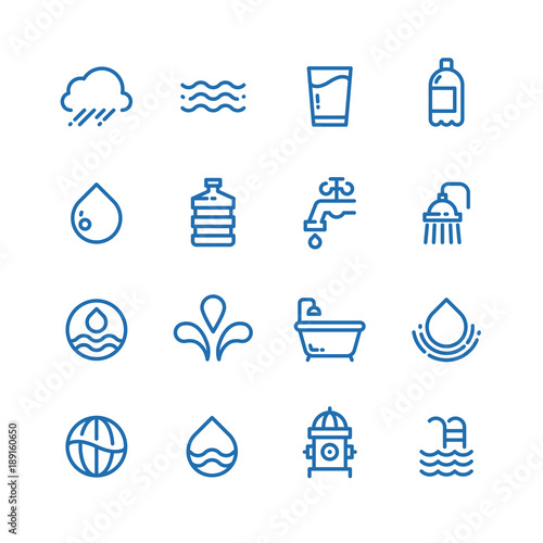Fotomural  Crystal clean water drops, fresh drinks and hygiene line vector icons