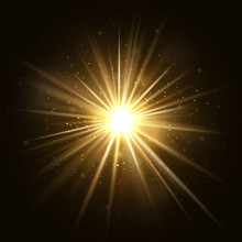 Gold Star Burst. Golden Light Explosion Isolated On Dark Background Vector Illustration