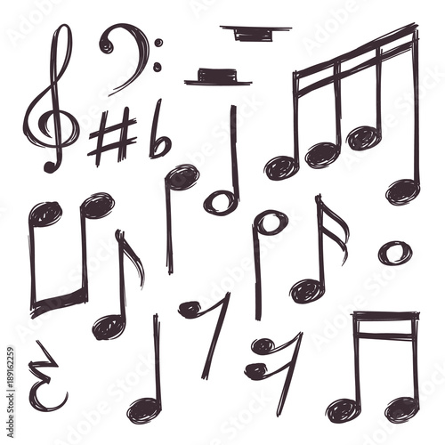Plakaty atrybuty muzyczne  hand-drawn-music-note-vector-musical-symbols-isolated-on-white-doodle-collection