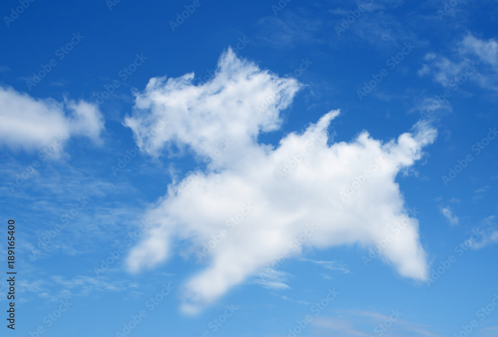 blue sky background with white Cloud look like a annimal