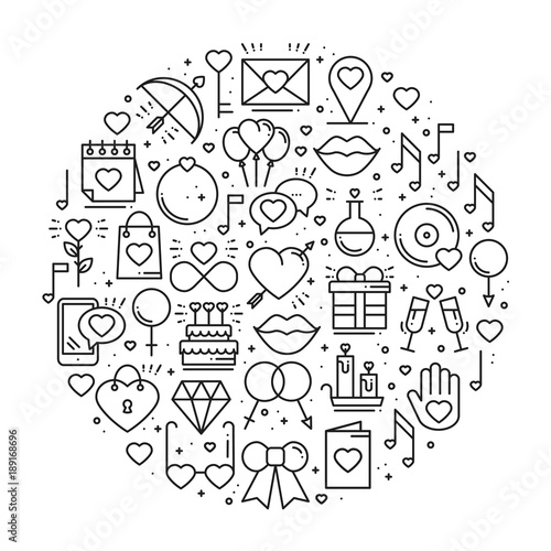 Circle With Love Symbols In Line Style Love Couple Relationship