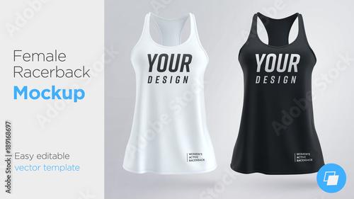 Fotografia  Women's white and black sleeveless tank top