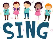 Stickman Kids Sing Illustration