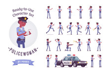 Young Black Policewoman Ready-to-use Character Set