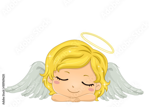Kid Girl Angel Sleeping Illustration Wallpaper Mural
