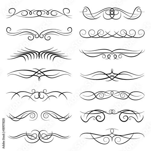 Fototapeta Set of vintage decorative curls, swirls, monograms and calligraphic borders. Line drawing design elements in black color on white background. Vector illustration.  obraz na płótnie