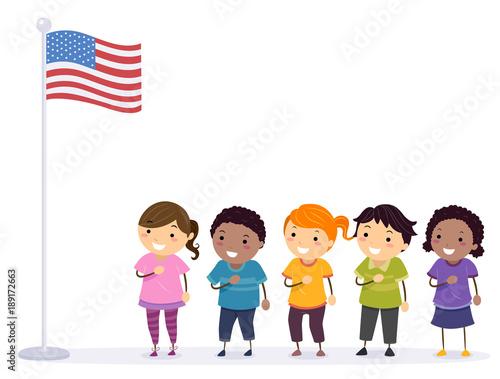 Stickman Kids Pledge Flag Illustration Wallpaper Mural
