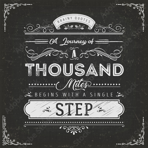 In de dag Positive Typography A Journey Of A Thousand Miles Motivation Quote