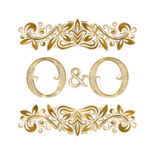 O And O Vintage Initials Logo Symbol. The Letters Are Surrounded By Ornamental Elements. Wedding Or Business Partners Monogram In Royal Style.