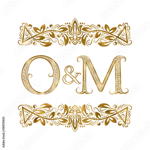 O And M Vintage Initials Logo Symbol The Letters Are Surrounded By