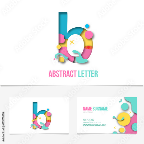 Paper Cut Letter B Realistic Creative Design Template On The Business Card Abstract Colorful Alphabet