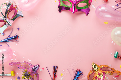 Table top view aerial image of beautiful photo booth prop for party carnival background concept Tablou Canvas
