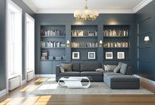 Classic Luxury Dark Grey Living Room With Bookshelf