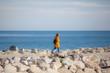 woman walk in the beach