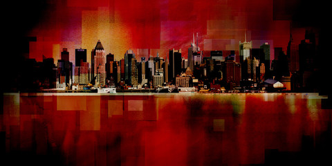 Obraz na Szkle Miasta Manhattan. Modern art. New York cityscape