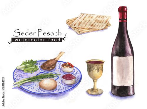 Hand drawn watercolor set of holiday Jewish food  Seder