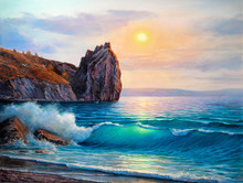 Painting Seascape. Sea Wave .