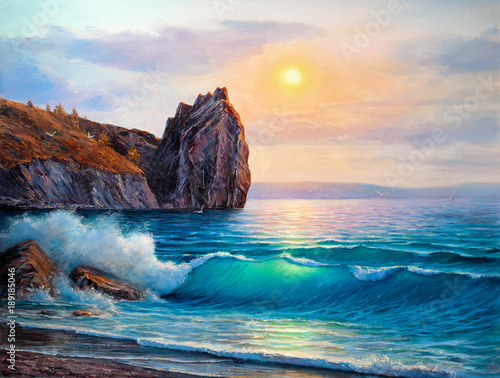 Painting seascape. Sea wave . Wall mural