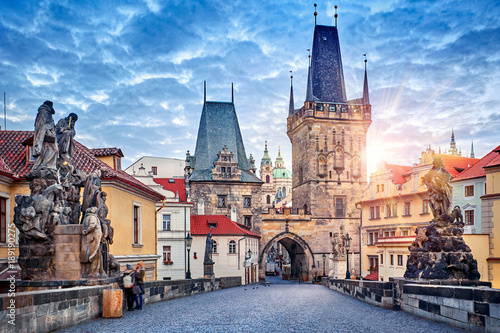 Sunrise on Charles bridge in Prague Czech Republic picturesque Wallpaper Mural