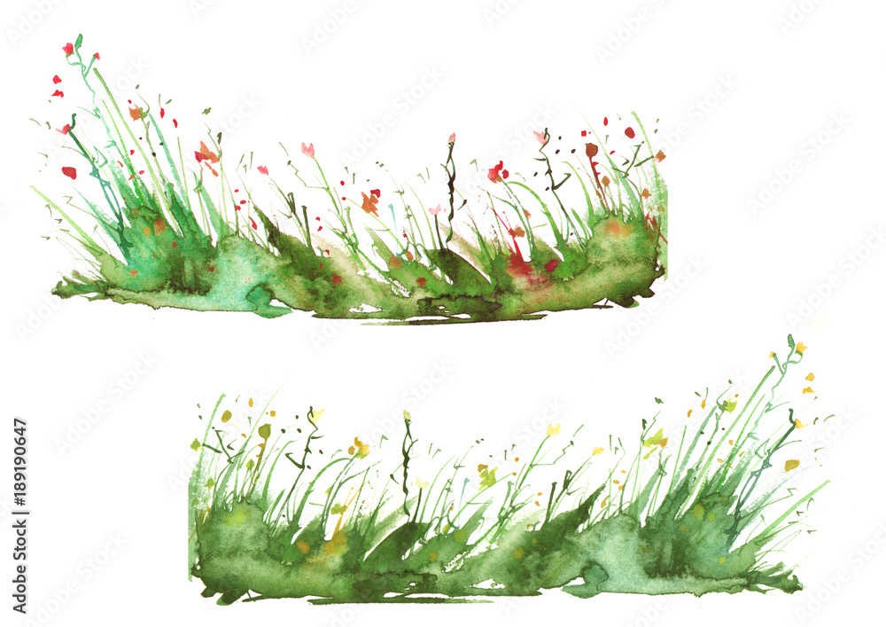 Watercolor set is spotted, blots, wild grass, plants. Art illustration. summer landscape of the earth is green, yellow, brown and orange. Splash of paint. Isolated on white background.