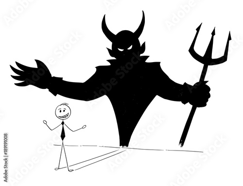 Cartoon stick man drawing conceptual illustration of businessman and his devil inside shadow on the wall Tableau sur Toile