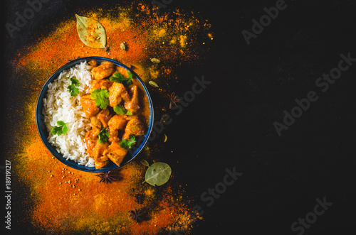 Keuken foto achterwand Kip Indian butter chicken background