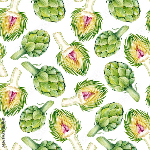 Photo Watercolor artichoke vector pattern