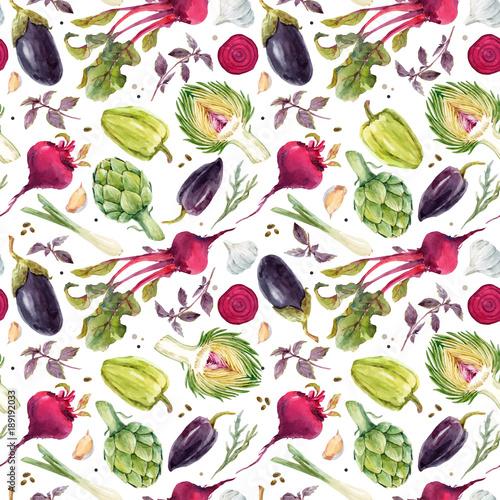 Tapety z jedzeniem i napojami akwarela-warzyw-wektor-wzor